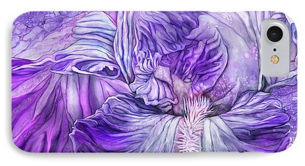 IPhone Case featuring the mixed media Wild Iris Purple by Carol Cavalaris