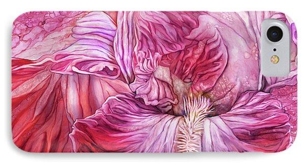 IPhone Case featuring the mixed media Wild Iris Red by Carol Cavalaris