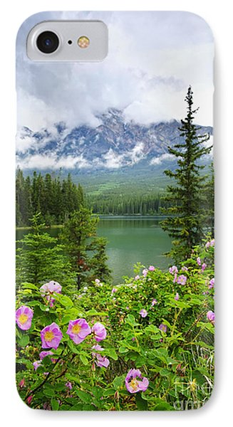 Wild Roses And Mountain Lake In Jasper National Park Phone Case by Elena Elisseeva