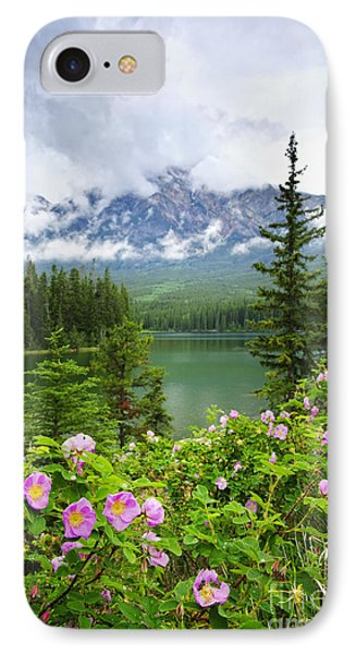 Wild Roses And Mountain Lake In Jasper National Park IPhone Case