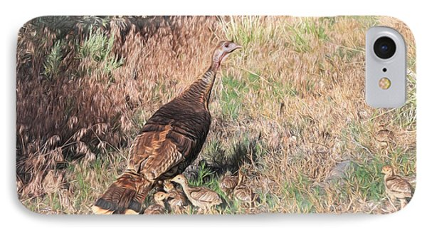 Wild Turkey Hen With Chicks IPhone Case