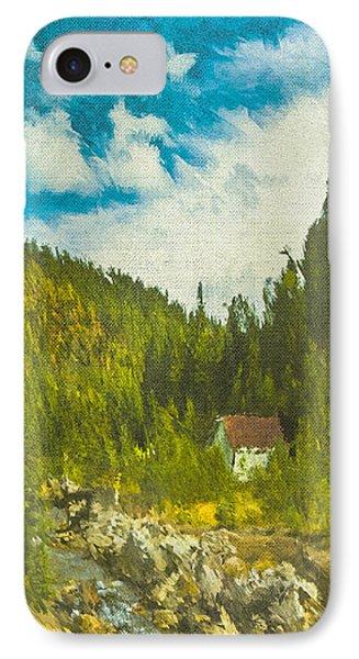 IPhone Case featuring the digital art Wilderness Cabin by Dale Stillman