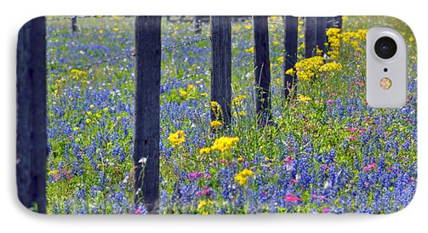 Wildflower Fenceline IPhone Case by Teresa Blanton