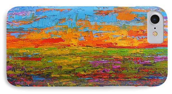 Wildflower Field At Sunset - Modern Impressionist Oil Palette Knife Painting IPhone Case