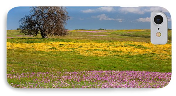 Wildflowers And Oak Tree - Spring In Central California IPhone Case by Ram Vasudev