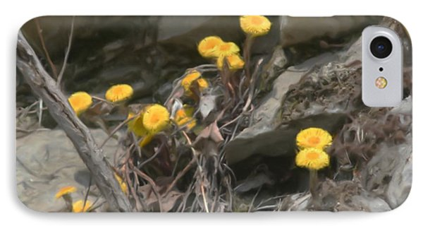 IPhone Case featuring the painting Wildflowers In Rocks by Smilin Eyes  Treasures
