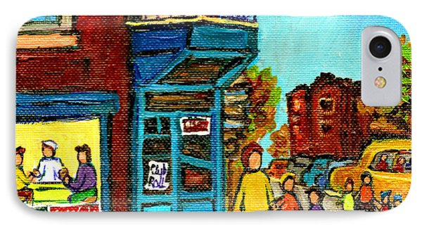 Wilensky's Counter With School Bus Montreal Street Scene Phone Case by Carole Spandau