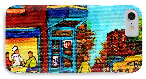 Wilensky's Lunch Counter With School Bus Montreal Street Scene Phone Case by Carole Spandau