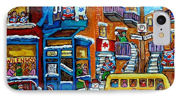 Wilensky's Montreal Memories Yellow Schoolbus Snowman Staircase Hockey Art Carole Spandau IPhone Case by Carole Spandau
