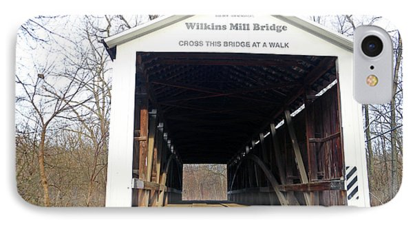 Wilkins Mill Covered Bridge Indiana IPhone Case by Steve Gass