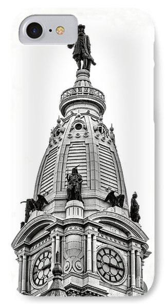 William Penn Statue Atop Philadelphia City Hall IPhone Case by Olivier Le Queinec