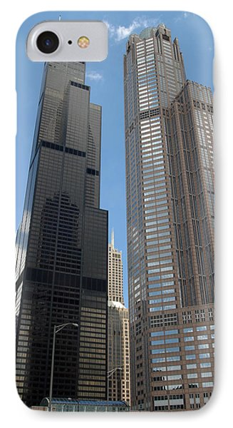 Willis Tower Aka Sears Tower And 311 South Wacker Drive IPhone Case by Adam Romanowicz