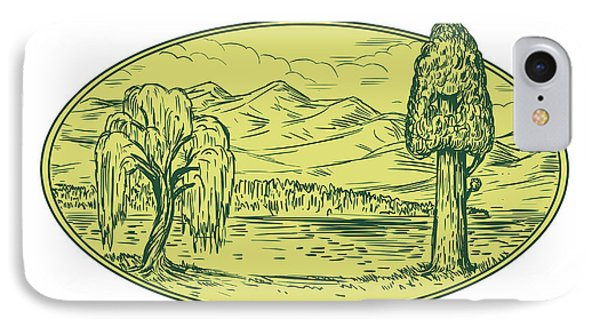 Willow And Sequoia Tree Lake Mountains Oval Drawing IPhone Case by Aloysius Patrimonio