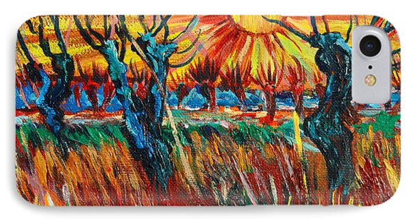 Willows At Sunset - Study Of Vincent Van Gogh Phone Case by Karon Melillo DeVega