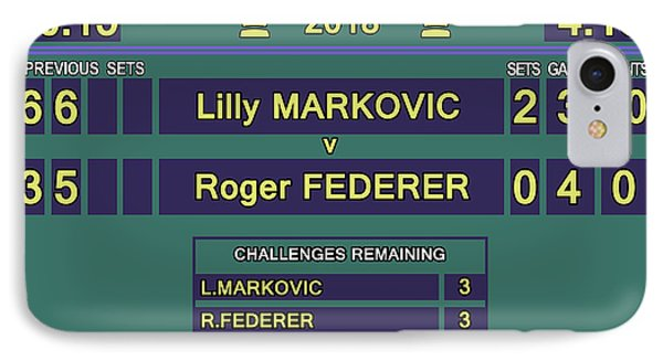 Venus Williams iPhone 7 Case - Wimbledon Scoreboard - Lilly Markovic - 4-13 by Carlos Vieira