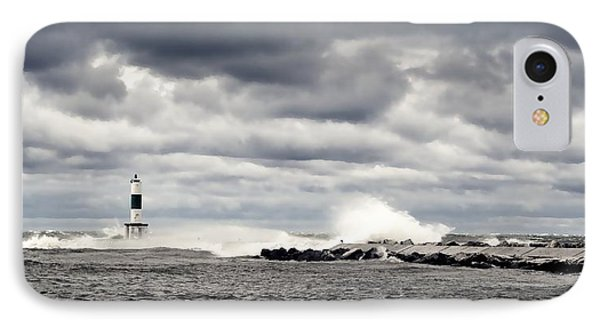 Wind And Waves At Holland Harbor IPhone Case by Michelle Calkins