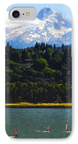 Wind Surfing Mt. Hood Phone Case by David Lee Thompson