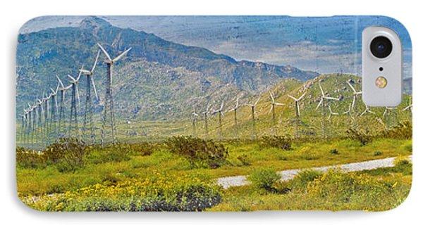 IPhone Case featuring the photograph Wind Turbine Farm Palm Springs Ca by David Zanzinger