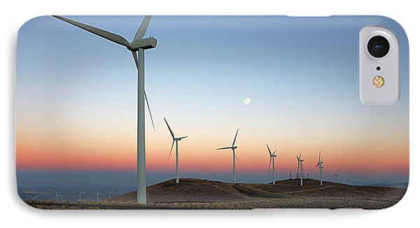 Wind Turbines At Moonrise IPhone Case