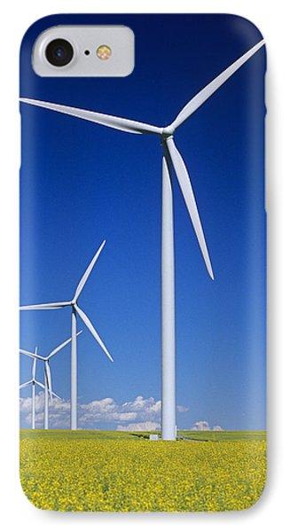 Wind Turbines In Canola Field, Near St IPhone Case