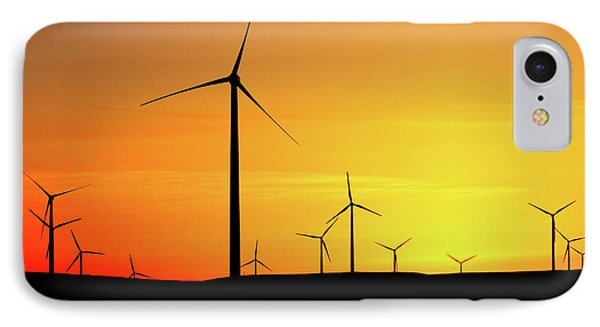 Wind Turbines Silhouette IPhone Case by Todd Klassy