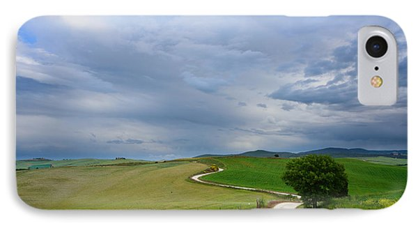 Winding Road To A Destination In A Tuscany Landscape IPhone Case by IPics Photography