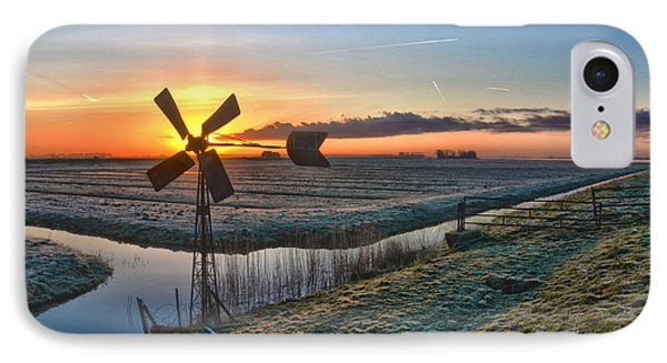 Windmill At Sunrise IPhone Case by Frans Blok