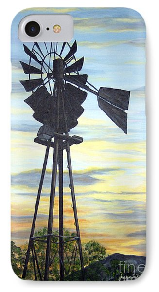 IPhone Case featuring the painting Windmill Capture The Wind by Judy Filarecki
