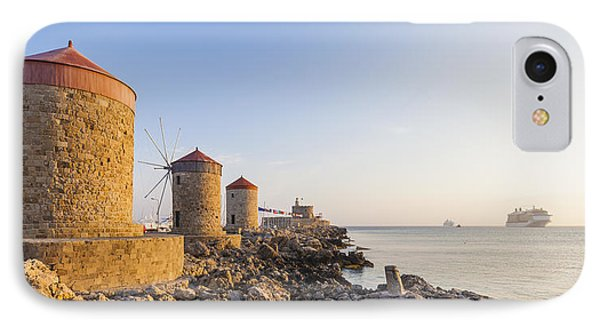 Windmills At Mandraki Harbour IPhone Case by Werner Dieterich