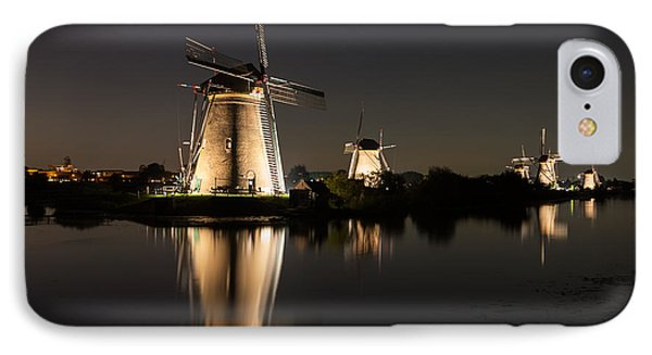 Windmills Illuminated At Night IPhone Case by IPics Photography