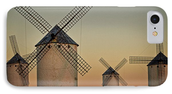 IPhone Case featuring the photograph Windmills In Golden Light by Heiko Koehrer-Wagner