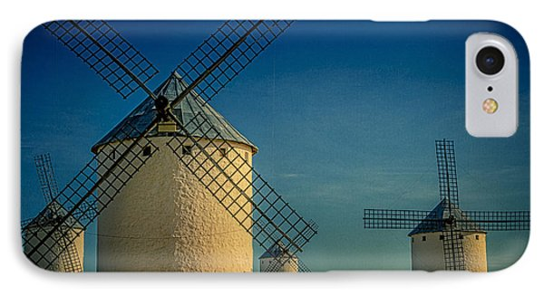 IPhone Case featuring the photograph Windmills Under Blue Sky by Heiko Koehrer-Wagner