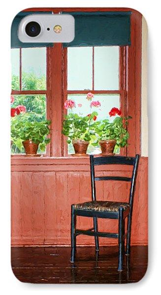 Window - Chair - Geraniums IPhone Case by Nikolyn McDonald