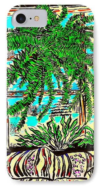 IPhone Case featuring the drawing Window Loving Fern by Al Goldfarb