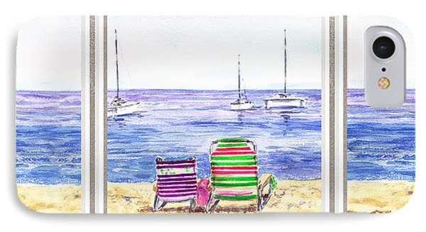 Window Of The Beach House IPhone Case by Irina Sztukowski