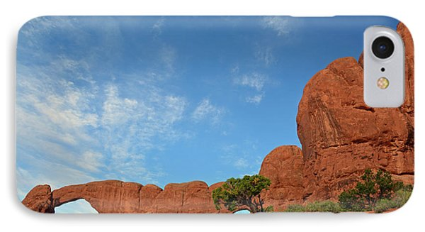 IPhone Case featuring the photograph Windows Arches With Wispy Clouds by Bruce Gourley