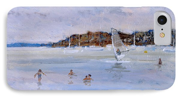 Windsurfer And Bathers IPhone Case by Christopher Glanville
