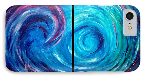 Windswept Blue Wave And Whirlpool 2 Phone Case by Nancy Mueller