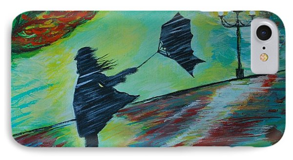 IPhone Case featuring the painting Windy Escapade by Leslie Allen