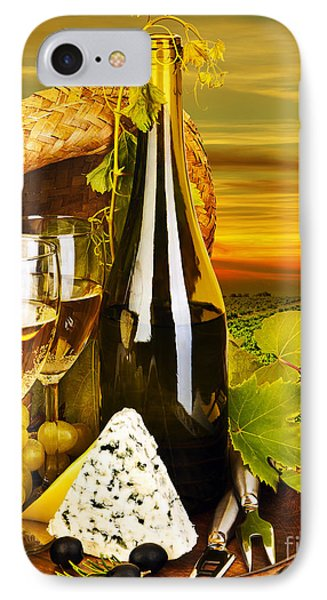 Wine And Cheese Romantic Dinner Outdoor Phone Case by Anna Om