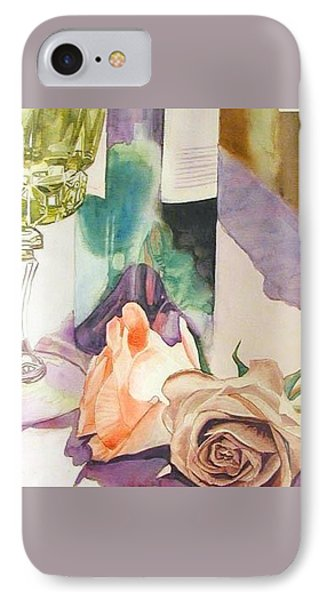 IPhone Case featuring the painting Wine And Roses by Martha Ayotte