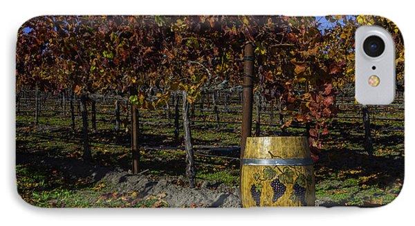 Wine Barrel In Vienyard IPhone Case