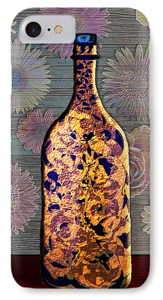 IPhone Case featuring the digital art Wine Bottle And Floral Wall by Iowan Stone-Flowers