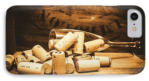 Wine Glass With An Assortment Of Bottle Corks IPhone Case by Jorgo Photography - Wall Art Gallery