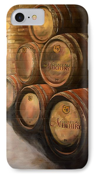 IPhone Case featuring the painting Wine In The Barrels - Chateau Meichtry by Jan Dappen