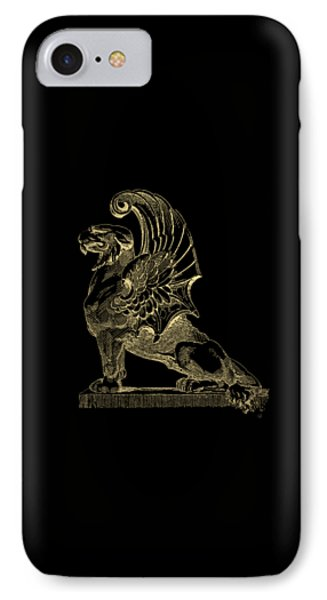 IPhone Case featuring the digital art Winged Chimera From Theater De Bellecour, Lyon, France, In Gold On Black by Serge Averbukh