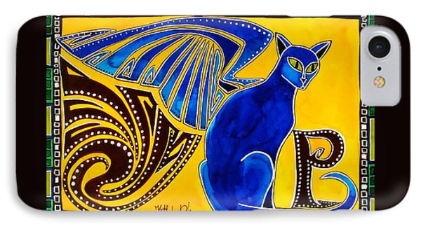 IPhone Case featuring the painting Winged Feline - Cat Art With Letter P By Dora Hathazi Mendes by Dora Hathazi Mendes