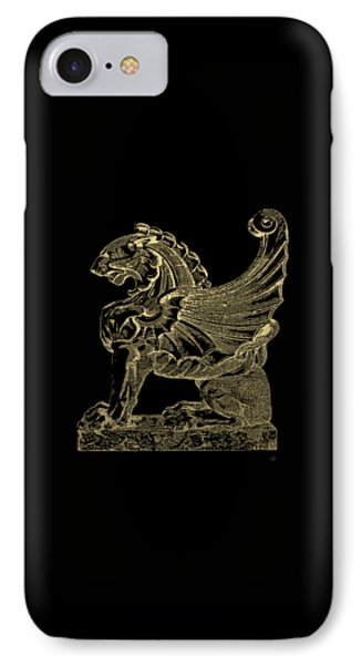 IPhone Case featuring the digital art Winged Lion Chimera From Casa San Isidora, Santiago, Chile, In Gold On Black by Serge Averbukh