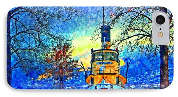 Winter And The Tug Boat 2 IPhone Case by Tara Turner