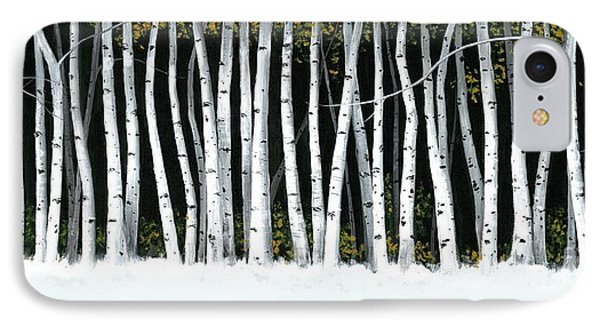 IPhone Case featuring the painting Winter Aspens II by Michael Swanson